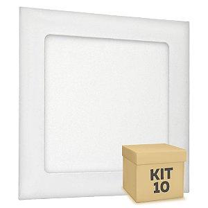 Kit 10 Luminária Plafon 12w LED Embutir Branco Quente