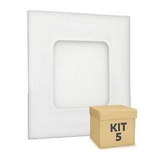 Kit 5 Luminária Plafon 3w LED Embutir Branco Frio