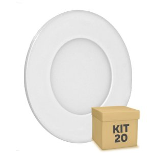 Kit 20 Luminária Plafon 3w LED Embutir Branco Frio
