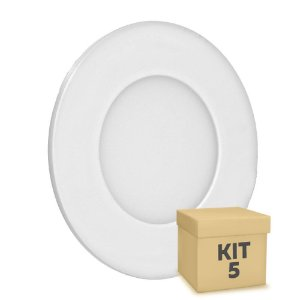 Kit 5 Luminária Plafon 3w LED Embutir Branco Quente