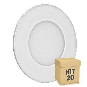 Kit 20 Luminária Plafon 3w LED Embutir Branco Quente