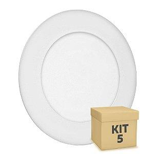 Kit 5 Luminária Plafon 6w LED Embutir Branco Quente