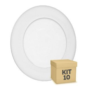 Kit 10 Luminária Plafon 6w LED Embutir Branco Quente