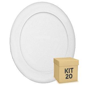 Kit 20 Luminária Plafon 12w LED Embutir Branco Frio