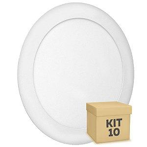 Kit 10 Luminária Plafon 18w LED Embutir Branco Quente