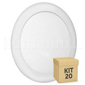 Kit 20 Luminária Plafon 18w LED Embutir Branco Quente