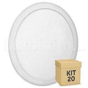 Kit 20 Luminária Plafon 25w LED Embutir Branco Quente