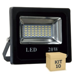 Kit 10 Refletor Holofote MicroLED 20W Branco Frio