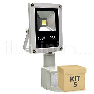 Kit 5 Refletor Holofote LED 10w Sensor de Presença Branco Frio