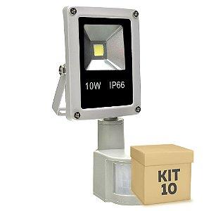 Kit 10 Refletor Holofote LED 10w Sensor de Presença Branco Frio