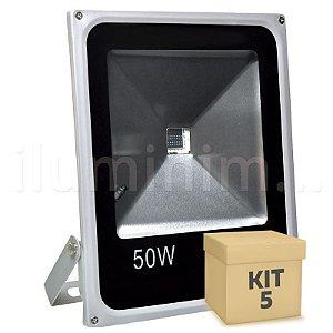 Kit 5 Refletor Holofote LED 50w RGB Colorido c/ Controle