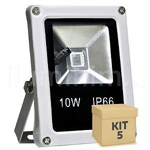 Kit 5 Refletor Holofote LED 10w RGB Colorido c/ Controle