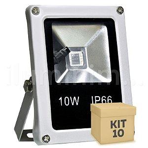 Kit 10 Refletor Holofote LED 10w RGB Colorido c/ Controle