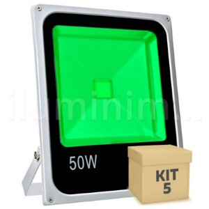 Kit 5 Refletor Holofote LED 50w Verde