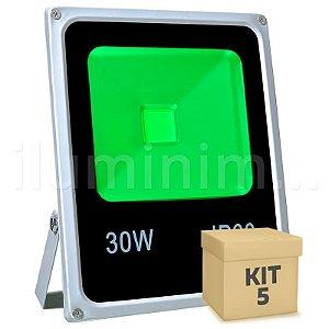 Kit 5 Refletor Holofote LED 30w Verde