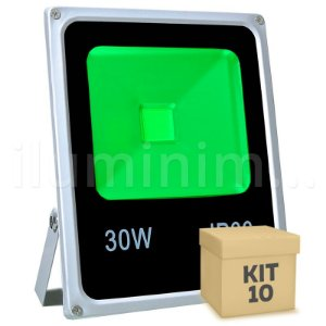 Kit 10 Refletor Holofote LED 30w Verde