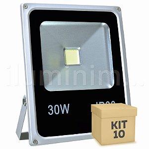 Kit 10 Refletor Holofote LED 30w Branco Frio