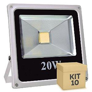 Kit 10 Refletor Holofote LED 20w Branco Quente