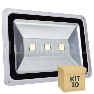 Kit 10 Refletor Holofote LED 150w Branco Frio