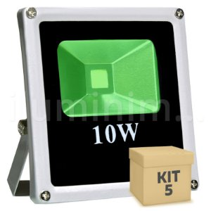 Kit 5 Refletor Holofote LED 10w Verde