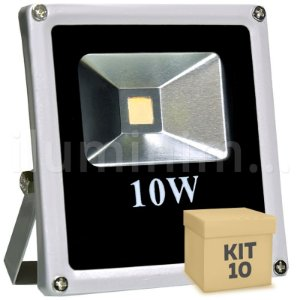 Kit 10 Refletor Holofote LED 10w Branco Quente