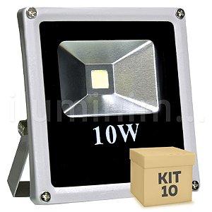Kit 10 Refletor Holofote LED 10w Branco Frio