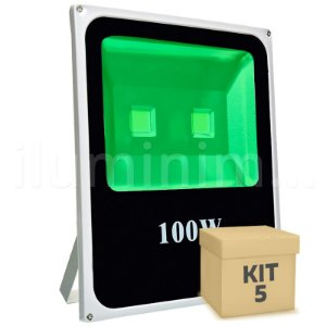 Kit 5 Refletor Holofote LED 100w Verde