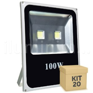 Kit 20 Refletor Holofote LED 100w Branco Frio