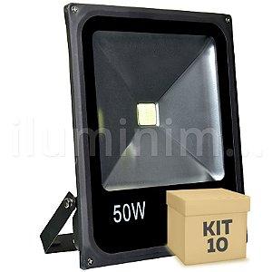 Kit 10 Refletor Holofote LED 50w Branco Frio Preto
