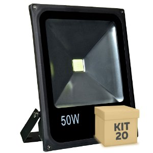Kit 20 Refletor Holofote LED 50w Branco Frio Preto
