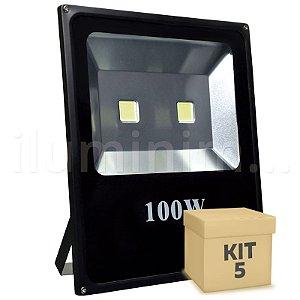 Kit 5 Refletor Holofote LED 100w Branco Frio Preto