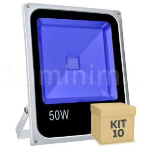 Kit 10 Refletor Holofote LED 50w Azul