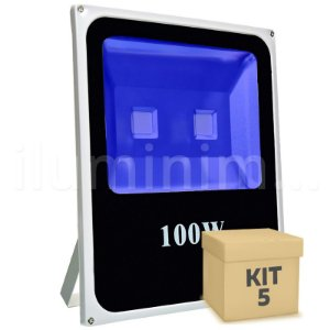 Kit 5 Refletor Holofote LED 100w Azul