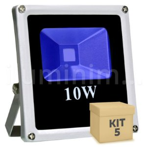 Kit 5 Refletor Holofote LED 10w Azul