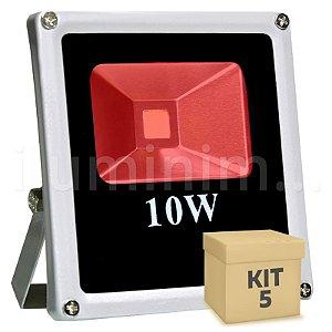 Kit 5 Refletor Holofote LED 10w Vermelho