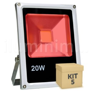 Kit 5 Refletor Holofote Led 20w Vermelho
