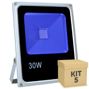 Kit 5 Refletor Holofote LED 30w Azul