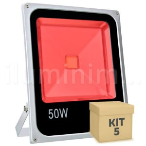 Kit 5 Refletor Holofote LED 50w Vermelho