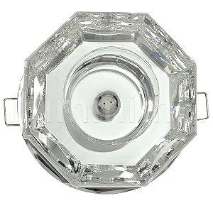 Spot Cristal Led Octógono Embutir G4 2w