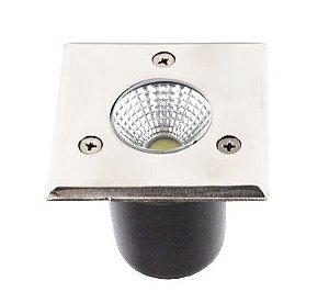 Spot Balizador LED COB 3W Quadrado Branco Frio para Piso