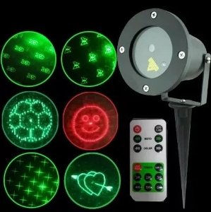 Espeto de Jardim Laser 5W 6 Padrões Com Controle