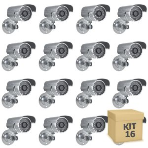 Kit 16 Câmera Segurança de LED Bullet Infravermelho HD 36 LEDs Prateada