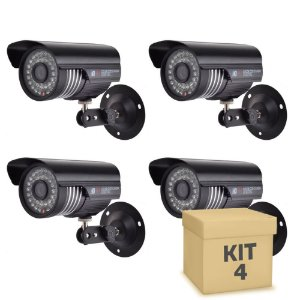 Kit 4 Câmera Segurança de LED Bullet Infravermelho HD 36 LEDs Preta