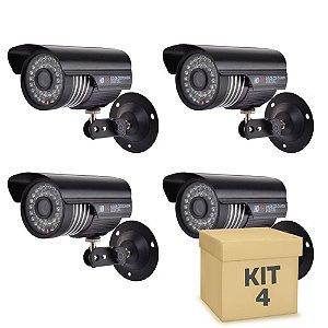 Kit 4 Câmera Segurança de LED Bullet Infravermelho 36 LEDs Preta