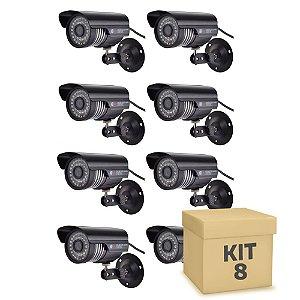 Kit 8 Câmera Segurança de LED Bullet Infravermelho HD 36 LEDs Preta