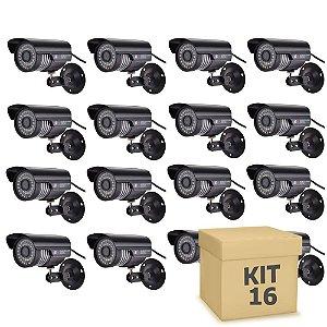 Kit 16 Câmera Segurança de LED Bullet Infravermelho HD 36 LEDs Preta