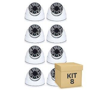 Kit 8 Câmera Segurança de LED Dome Infravermelho AHD 36 LEDs 1200TVL