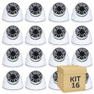 Kit 16 Câmera Segurança de LED Dome Infravermelho AHD 36 LEDs 1200TVL