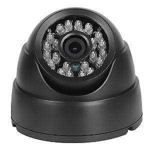 Câmera Segurança de LED Dome Infravermelho HD 24 LEDs 1000TVL Preta