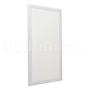 Luminária Plafon 30x60 41W LED Embutir Branco Quente Borda Branca